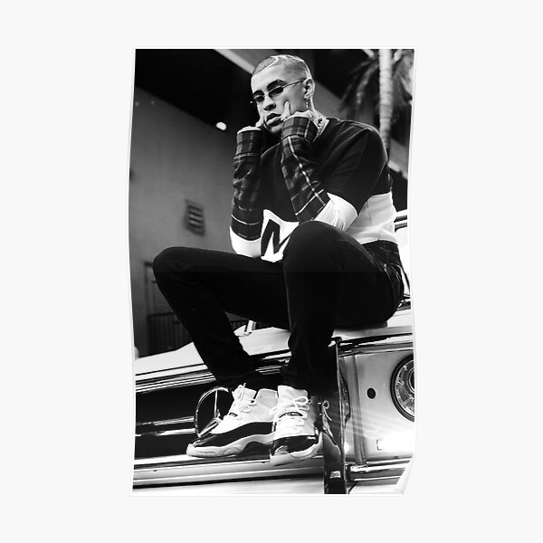 Bad Bunny Black White Poster RB3107 product Offical Bad Bunny Merch