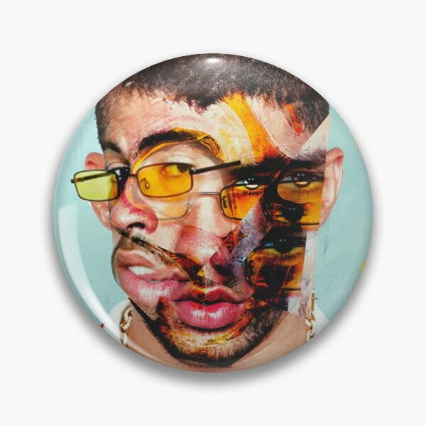 Bad Bunny Collage Pin RB3107 product Offical Bad Bunny Merch