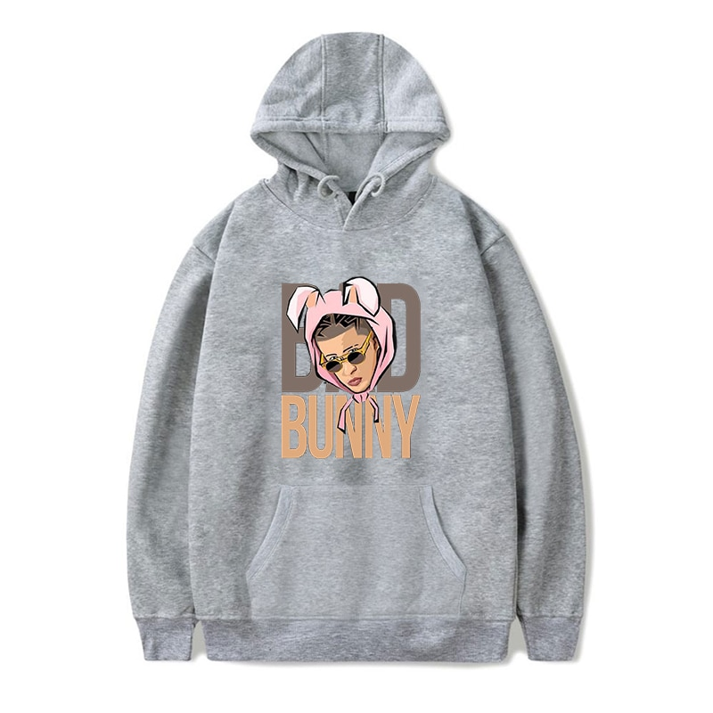 bad bunny face printed hoodie bbm0108 1169 - Bad Bunny Store